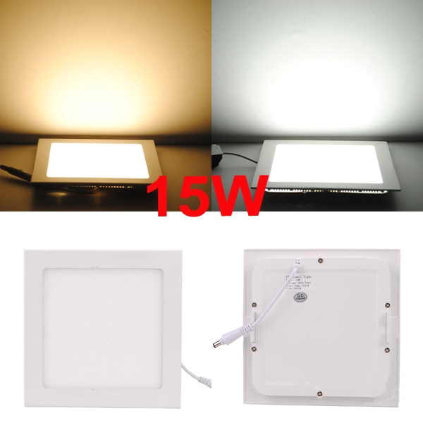 30pcslot,High Bright 15W LED Panel Light Square Recessed Ceiling Light With Power Adapter For kitchen bathroom illumination