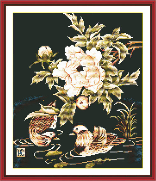 Mandarin ducks playing in the water decor painting counted or stamped 14CT 11CT Cross Stitch Embroider kits Needlework Set hot
