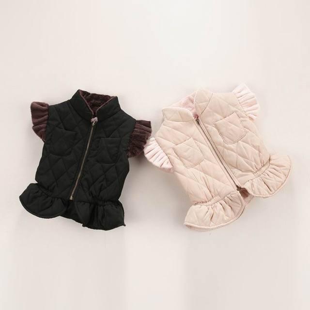 Colete menina da pele do falso zipper flare manga de lã grossa colete crianças por atacado de roupas 16328