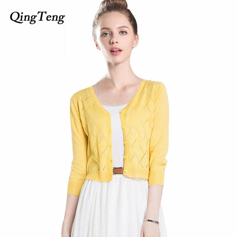 QingTeng Short Cardigan Female 3/4 Sleeve Ultra Thin Knitted Cardigan Hollow Women Sheer Tops Transparent Uv Cardigan 2018