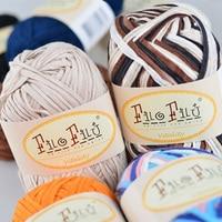 Filo Filu Brand Fashion Space Dye Fancy Flat Belt Cotton Yarn For Knitting ,6Balls 300G/lot