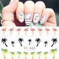 1 folhas havaí palm tree design flamingo projeto transferências decalques nail art de água adesivos etiqueta do prego