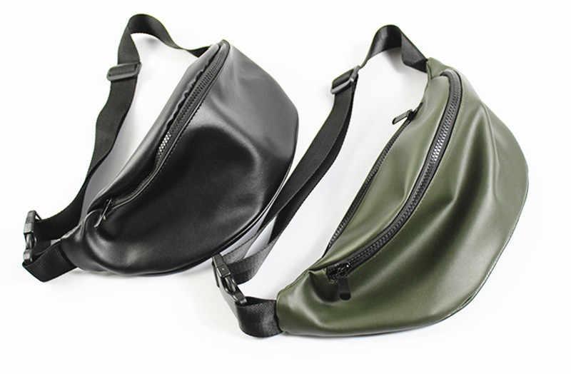 Fanny Packs pour femmes et hommes unisexe PU sac de taille Pack avec fermeture éclair sangle réglable noir Fanny Pack pour voyager décontracté