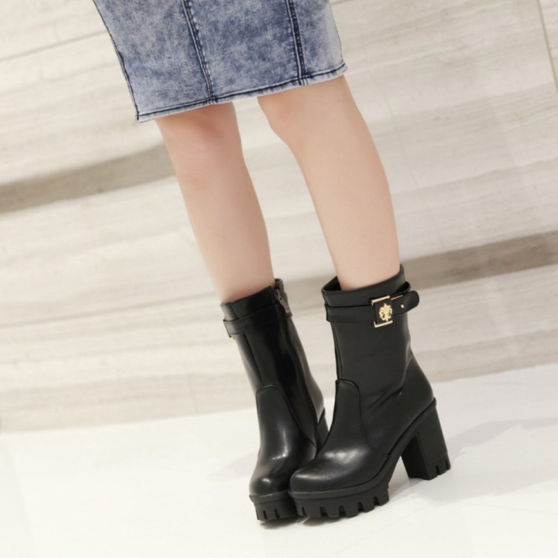 2015 Autumn Suede Fringed Boots Wedge High Heel Mid Calf Wedding Shoe Bridal Shoes Wild Section