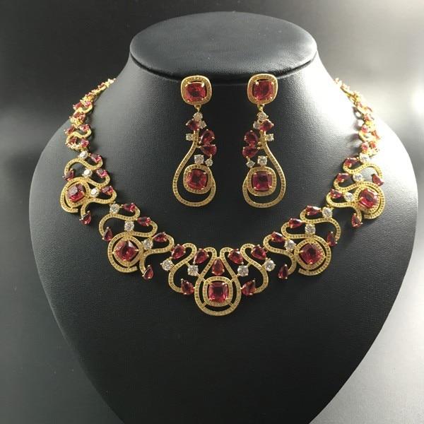2018 new fashion luxury retro red zircon golden necklace earring set,wedding bride dinner party banquet dress popular jewelry