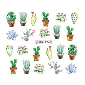Image 2 - Pegatinas de agua para uñas de Cactus, 12 diseños, hoja de planta verde, copos de marca de agua, deslizador, tatuaje, decoración de uñas, LABN1261 1272 1