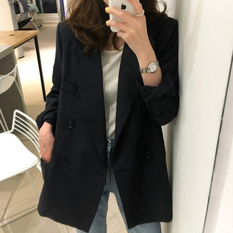 Women's Small Suit 2019 Autumn Korean Version Of The Black Long Paragraph Loose Casual Small Suit Fashion Ladies Jacket