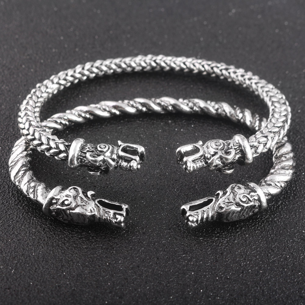 S/C Handmade Opening Vikings of Midgard Bangles Double wolf Faucet Head Bracelet two-headed Wolf Bracelets For Men Jewelry ...