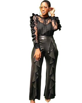 Women Black Two Piece Set Top and Pants Ruffle Mesh Crop Top and PU Leather Pants Suits Ladies Office Party Club 2 Piece Outfits