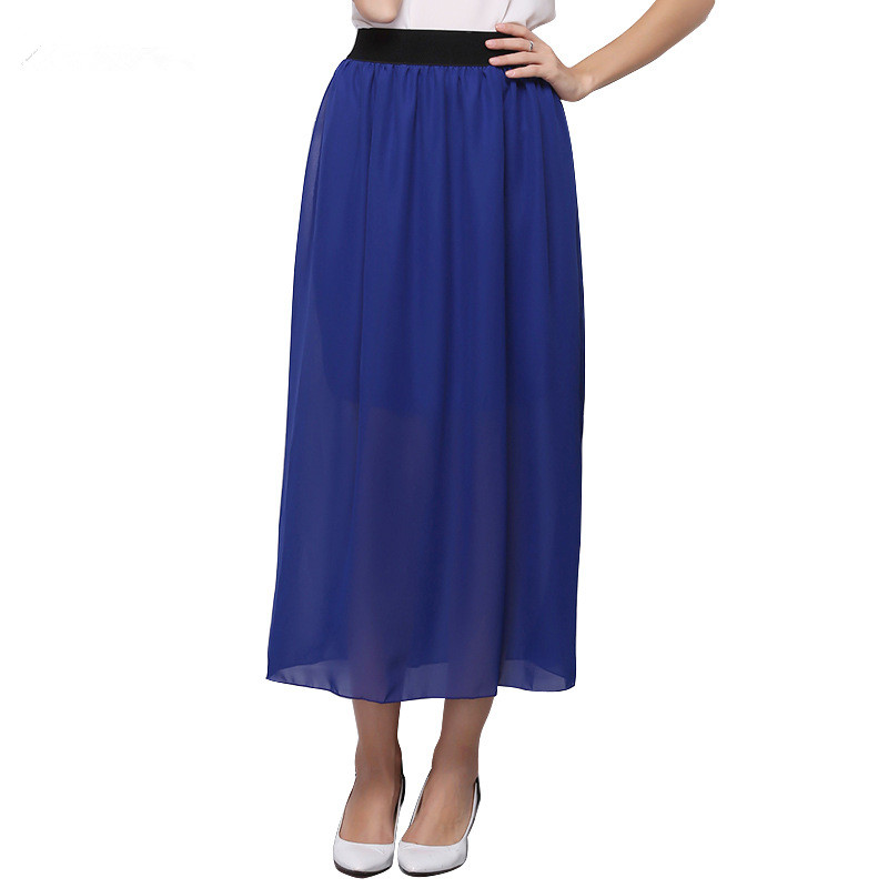 2017 Women Casual Candy Colors Chiffon Tulle Skirts Fshion Sexy Elastic High Wasit Summer Long Skirts Ladies Maxi Skirt  Saia