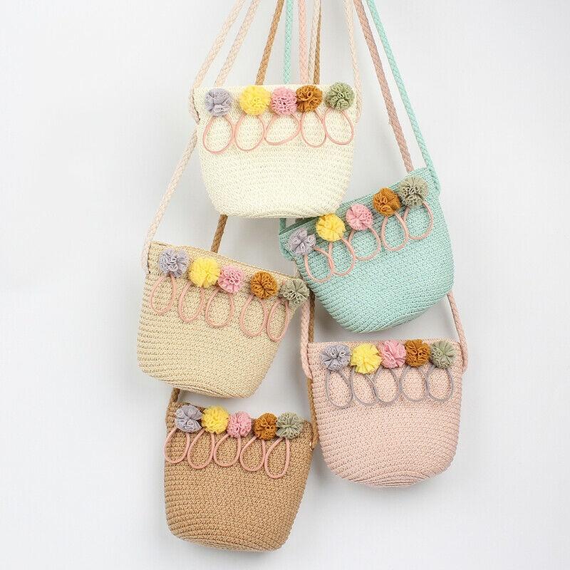 New Bohemian Style Straw Woven Bag Diaper Bag Baby Girls Handbag Floral High Quality Crossbody Mini Messenger Bag Solid Color