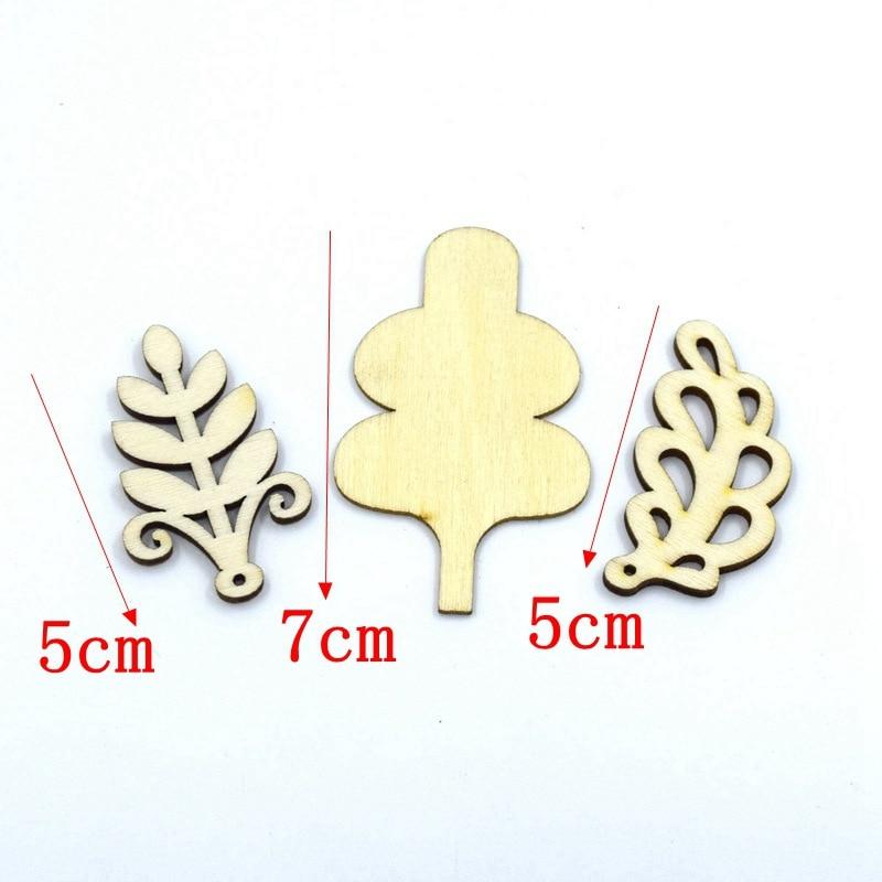10pcs/set 5cm / 7cm 3 Design leaf Natural wooden