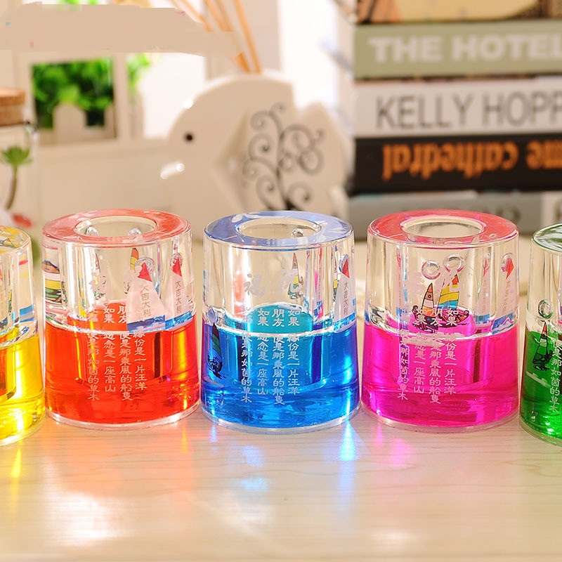 Crystal Oil Drop Hourglass Pen Rack Desktop Decorative Handicrafts Gift for students tea ...