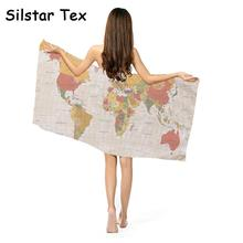 Silstar tex home textile world map printed bath towels drying silstar tex home textile world map printed bath towels drying washcloth microfiber absorbent fabric for summer gumiabroncs Images
