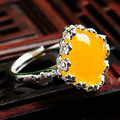 925 Sterling silver simple party dinner yellow chalcedony Citrine flowers candy colored natural Semi-precious stones jade Rings