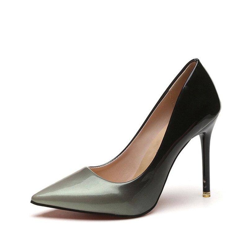 Mujeres Vestir Boda Bombas Zapatos Color Juego Caliente Estrecha Alto 2018 A Punta rojo Negro Tacón Charol De 5H64xA