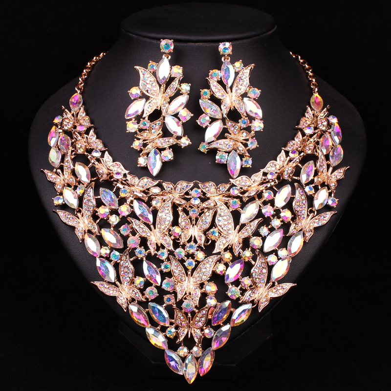 Image 3 - Fashion Indian Crystal Bridal Jewelry Sets Statement Big Necklace  Earrings Sets for Bride Wedding Party Dress Costume Accessorycrystal  bridal jewelry setnecklace earring setbridal jewelry sets