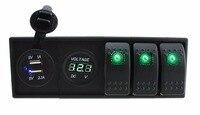 IZTOSS DC 12V/24V LED Digital 3.1A dual USB charger voltmeter Socket with rocker switches jumper wires and housing holder|rocker switch with led|led rocker switchusb rocker switch -