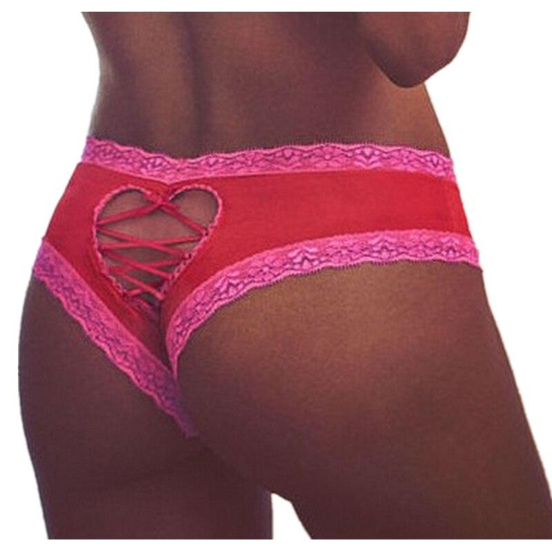 Womens Sexy Panties Lace Hollow Briefs Low Waist Plus Size Heart Shape Cute Women Underwear Black ...