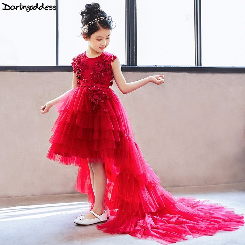 High Low Little   Flower     Girl     Dresses   for Weddings Burgundy Removable Skir First Holy Communion   Dress   for   Girls   Kids Pageant   Dress