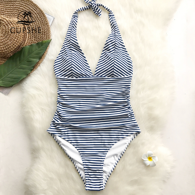 2f8ecc77660 CUPSHE Dark Blue And White Striped Self-tie Halter One-Piece Swimsuit Women  V-neck Backless Monokini 2019 Girl Beach Swimwear