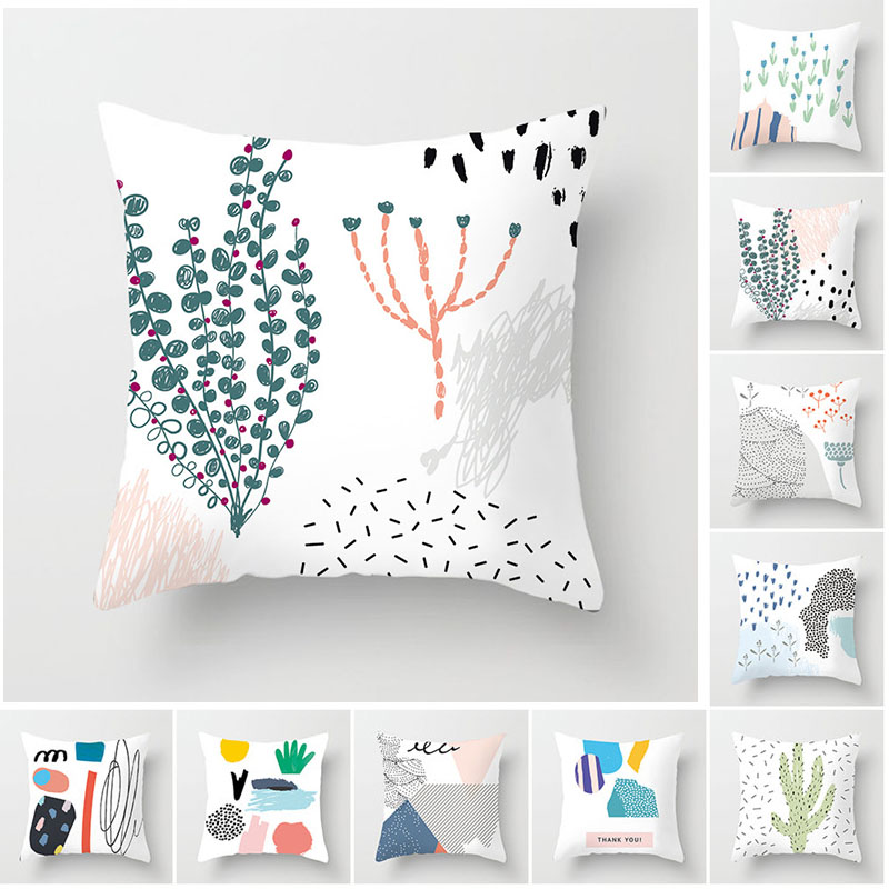 Fuwatacchi Cute Cartoon Plant Cushion Cover Figure Painting Pillow Case Desert Plant Printing for Sofa Car Home Decor Pillowcase in Cushion Cover from Home Garden