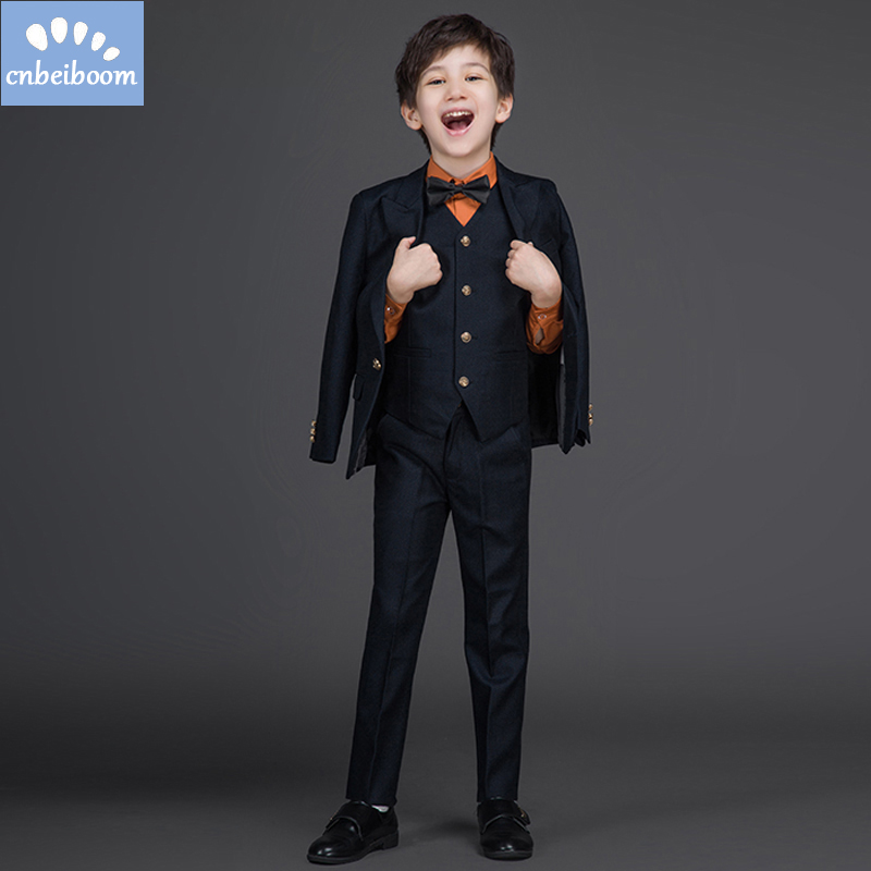 Gentleman Style Children Boys Suits 2-12 Yrs (Jacket+Pants+Vest) Clothing Sets 3Pcs Kids Fashion Wedding Party Boy Clothes Suit gentleman kids sets 2018 fashion boys vest shirt pants 3pcs kids wedding party clothing ceremony children set formal suit f051