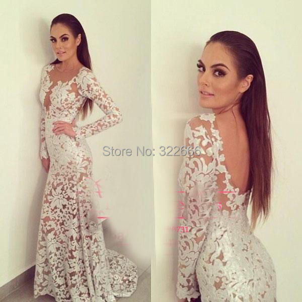 White 2015 Lace Prom Dresses Sheer Crew Neckline Backless Mermaid Long Transparent Sleeve Floor-Length Wedding Evening - love_bridal store