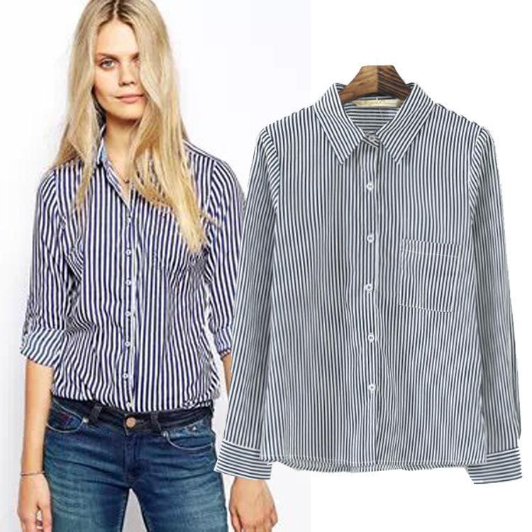 9deb1f321ad614 Women's Clothing Women Blouses Rushed Chiffon plus size blouse Super  Beautiful Temperament Cotton Pinstripe Shirt YQMS164321