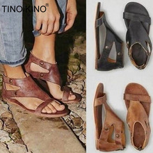 Women Gladiator Flat Summer Sandals 2020 Ladies Ankle Wrap T