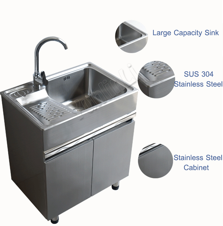 80x48cm Steel Sink Balcony Lavatory Cabinet Movable Washboard Closet Floor Sink Cabinet Bathroom Cabinet Combination