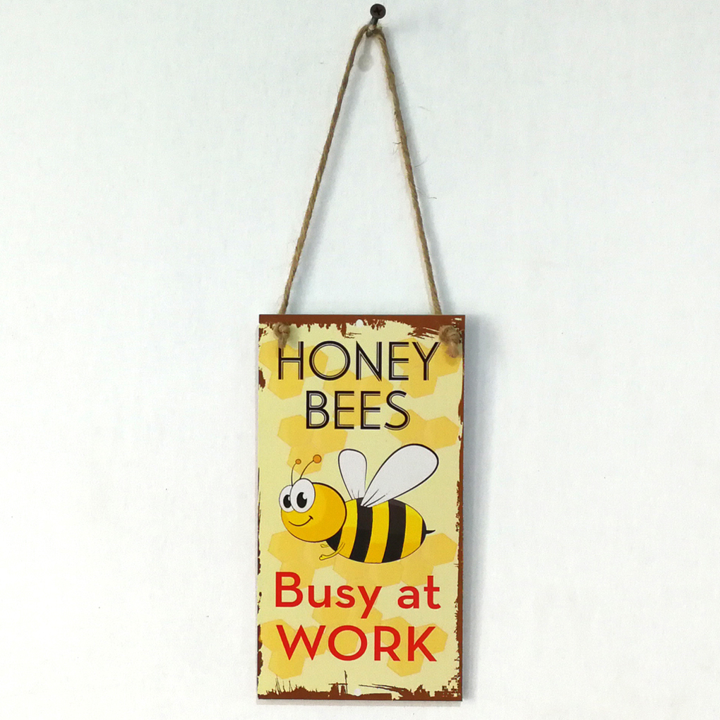 Spring Bee Busy At Work Letter Wooden Plaque Wall Decor Hanging ...