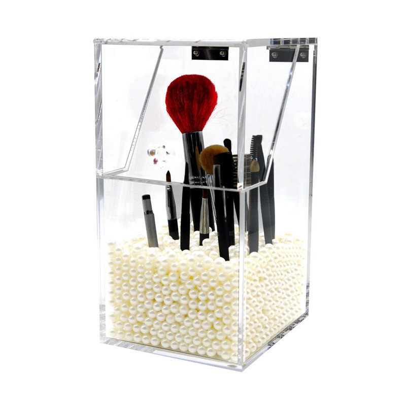Hot Sale Makeup Brush Holder Dustproof Storage Box 5mm Thick Acrylic Makeup Organizer Container organizador de maquillaje