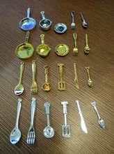 11pcs/lot plate pot fork and knife spoon Kitchenware set Dollhouse Miniature Toy Doll Food Kitchen room Accessories 1:12 Scale(China)
