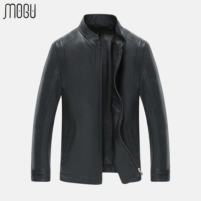 MOGU Leather Jacket PU Leather Jacket Men Motorcycle Jacket Good Quality Men's Coat