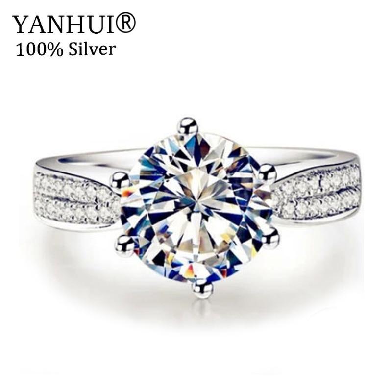 YANHUI 925 Sterling Argent Anneaux Bijoux Sona 2 Carat CZ Diamant De Mariage anneau Pour Les Femmes ANNEAU TAILLE 5 6 7 8 9 10 YR006