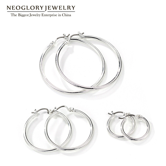 Neoglory Titanium Plated White Three Pairs Hook Earrings Set For Women Teens Girls Different Sizes Fashion Jewelry 2017 New FA