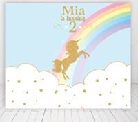 custom unicorn rainbow glitter rocking horse carousel baby shower backdrops High quality Computer print party background