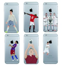 Football Case Pogba karim Benzema Cristiano Ronaldo Messi phone case for iphone 7 plus 6 6s 5s  se Hard clear back cover coque