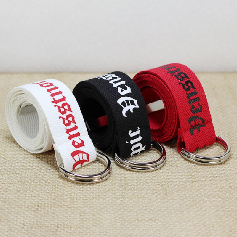 130cm Fashion Neutral Nylon Canvas   Belt   Printing Thai D Ring Double Buckle Student   Belt   Canvas waistband   Belt   with double buckle