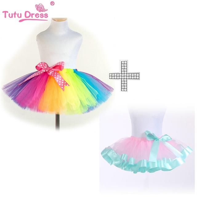 Colorful Rainbow Tutu Meninas Saia Artesanal Super Fofo Bebê Barato Crianças Tutu Saias