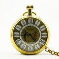 1038 Золото Люксовый Бренд Механические Карманные Часы Римские цифры Скелет Часы Стимпанк Карманные Часы С Цепочкой