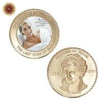 WR UK Luxury 24k Gold Coin 999.9 Gold Plated Souvenir Coins Princess Diana Commemorative Metal Coins Art Ornament