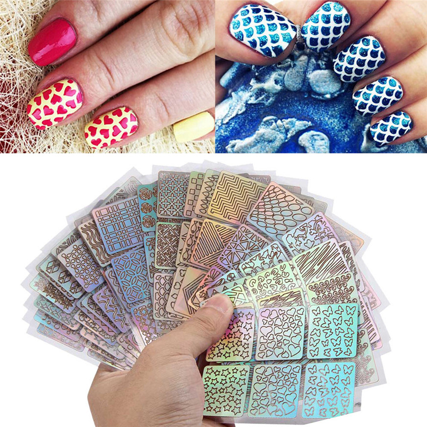 цена на 18Sheets New Nail Hollow Irregular Grid Stencil Reusable Manicure Stickers Nail Art Decorations