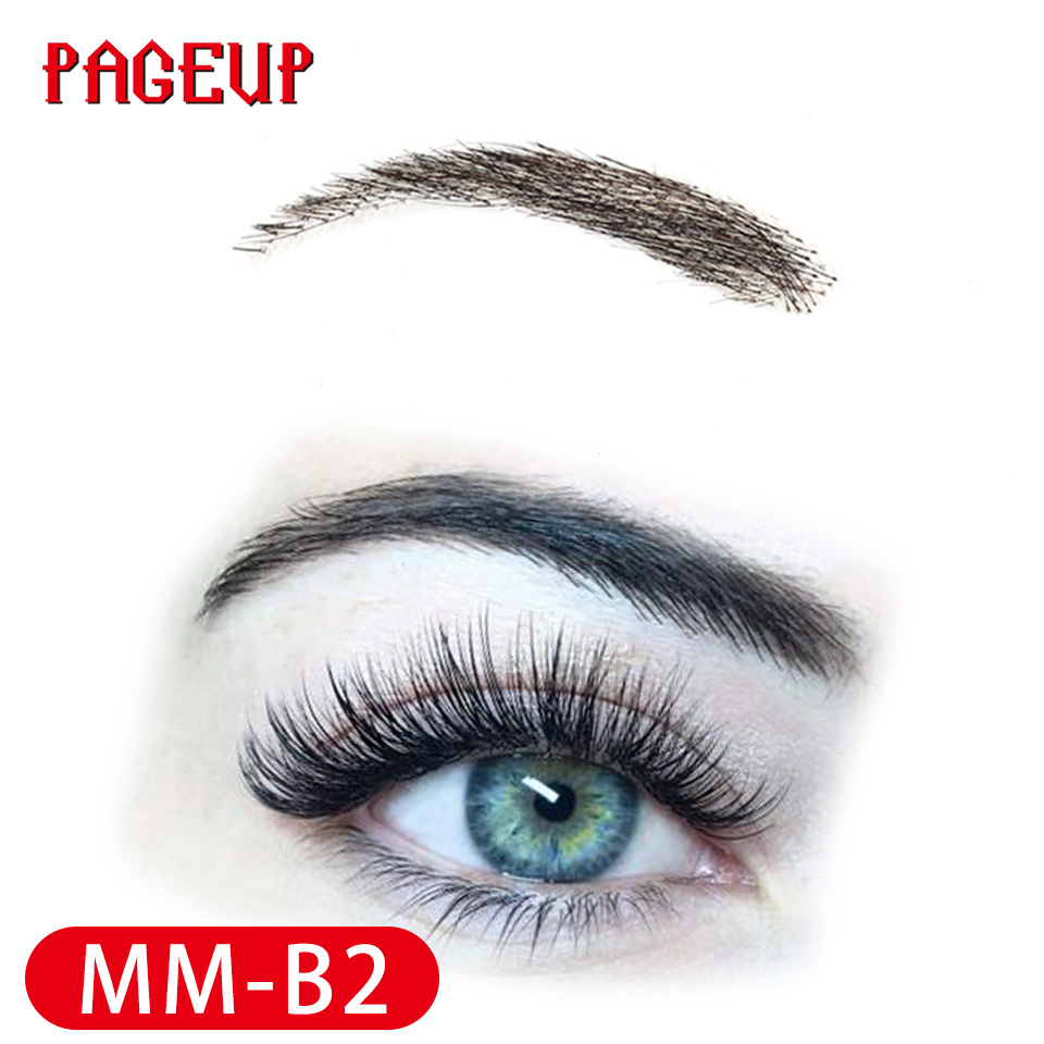 Image 4 - Pageup Handmade False Eyebrows For Women Made By 100% Real Hair For Party Wedding Cosplay Star Fake Eyebrow Synthetic EyebrowsSynthetic Weave   -