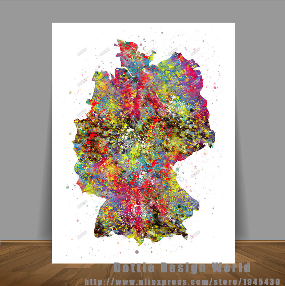 Art Bilder Leinwand Us 7 79 40 Off Original Aquarell Deutschland Karte Leinwand Malerei World Map Wall Art Poster Drucken Bilder Dekoration Wand Hängen Aufkleber In
