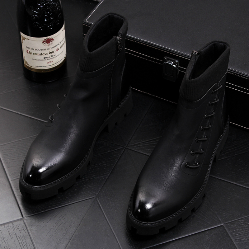 British fashion men party nightclub dress black cow leather booties pointed toe motorcycle ankle boots bota