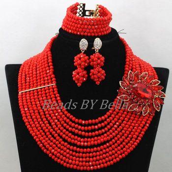 Juego de joyas con cuentas de boda Africana roja opaca brillante nuevo collar de cristal nigeriano conjunto de joyas de encaje nupcial envío gratis ABK532