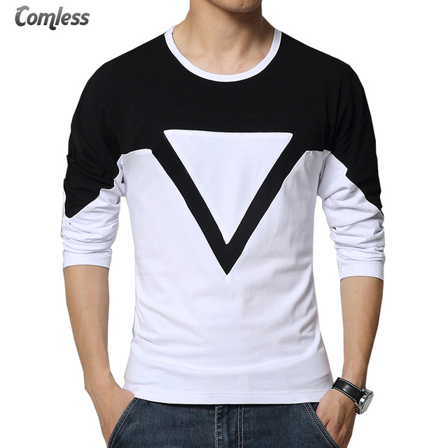 3bc8bfde00b2a Mens Fashion Patchwork Mixed Colors Black White Casual Long Sleeve T Shirt  Men Brand T