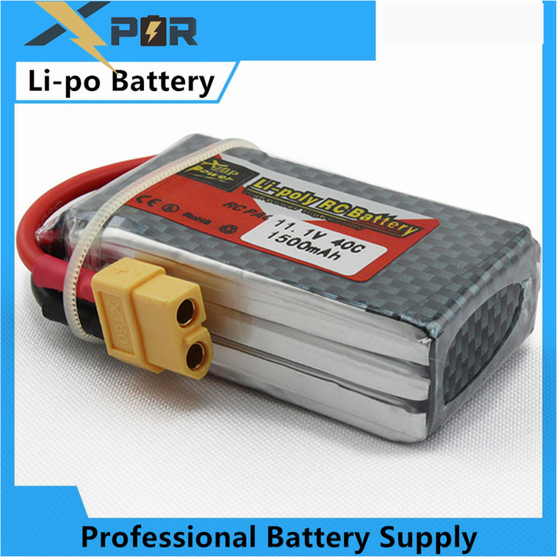 zop Original <font><b>LiPo</b></font> Battery 11.1V <font><b>1500Mah</b></font> <font><b>3S</b></font> 40C Max 60C XT60 Plug For RC Quadcopter Drone Helicopter Car Airplane Toy Parts image